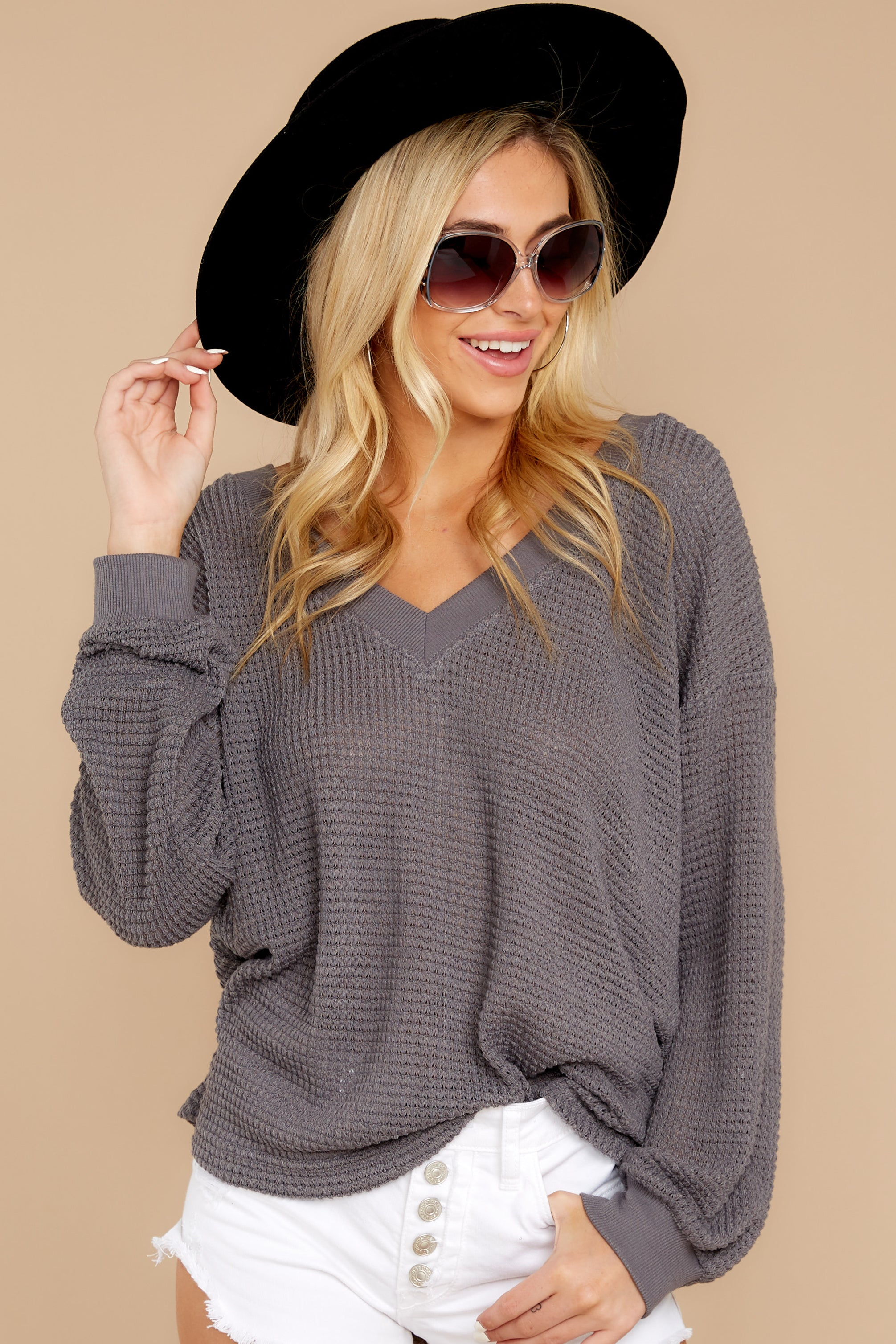 5 Quiet Moments Charcoal Grey Waffle Knit Top at reddressboutique.com