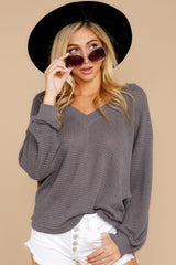 6 Quiet Moments Charcoal Grey Waffle Knit Top at reddressboutique.com