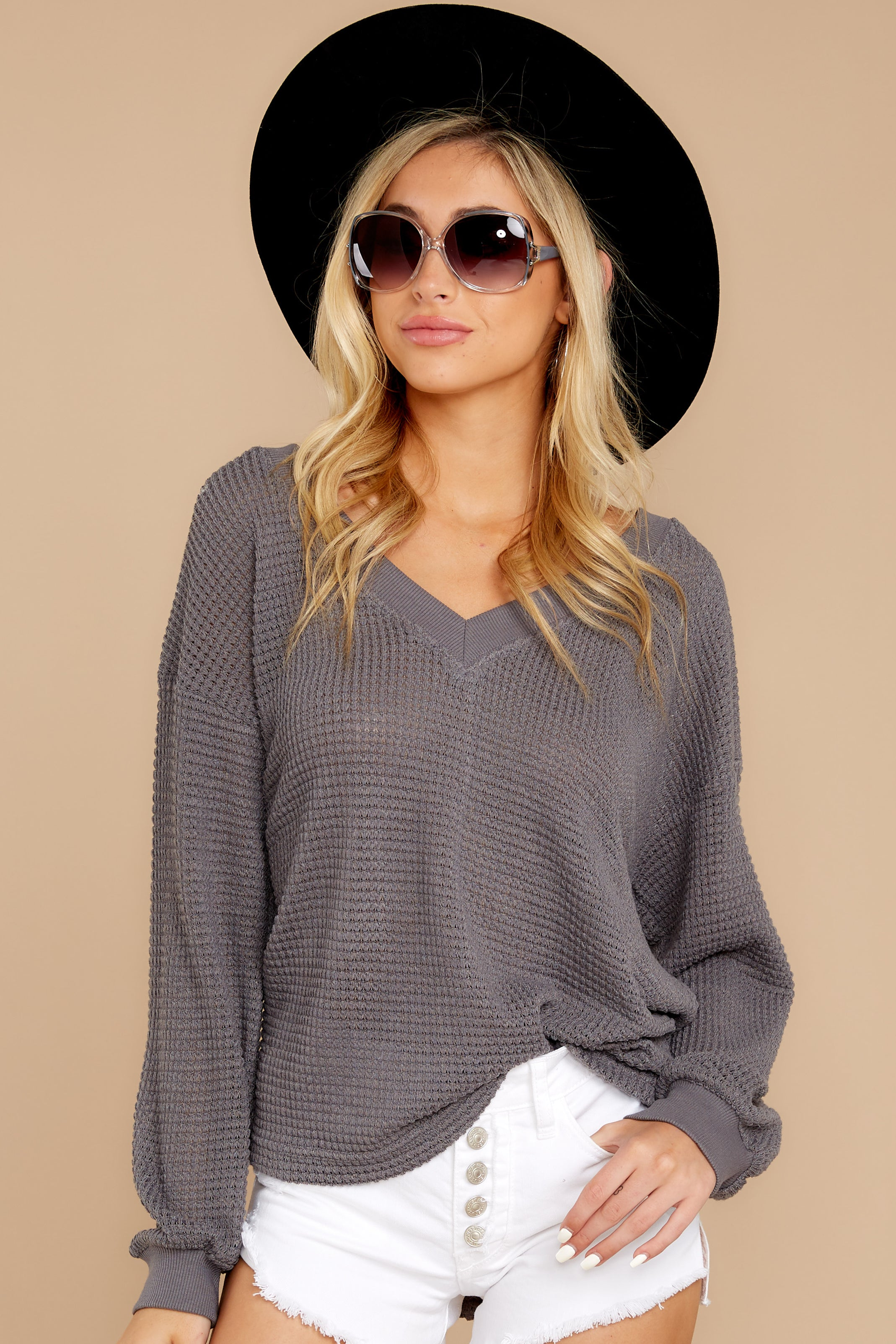 7 Quiet Moments Charcoal Grey Waffle Knit Top at reddressboutique.com