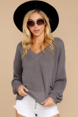 8 Quiet Moments Charcoal Grey Waffle Knit Top at reddressboutique.com
