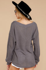 9 Quiet Moments Charcoal Grey Waffle Knit Top at reddressboutique.com