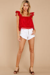 2 Right Time Right Place Red Lace Top at redressboutique.com