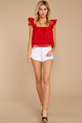 3 Right Time Right Place Red Lace Top at redressboutique.com