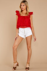 4 Right Time Right Place Red Lace Top at redressboutique.com