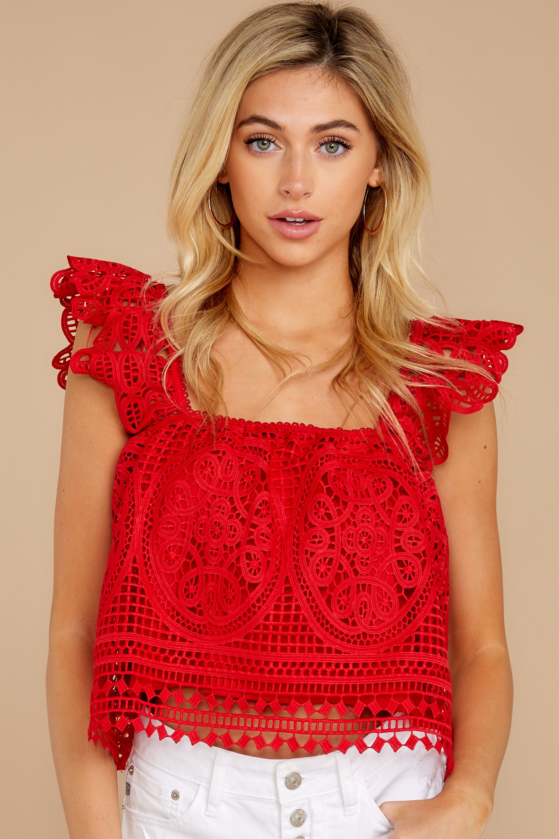 5 Right Time Right Place Red Lace Top at redressboutique.com