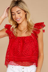 6 Right Time Right Place Red Lace Top at redressboutique.com