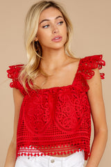7 Right Time Right Place Red Lace Top at redressboutique.com