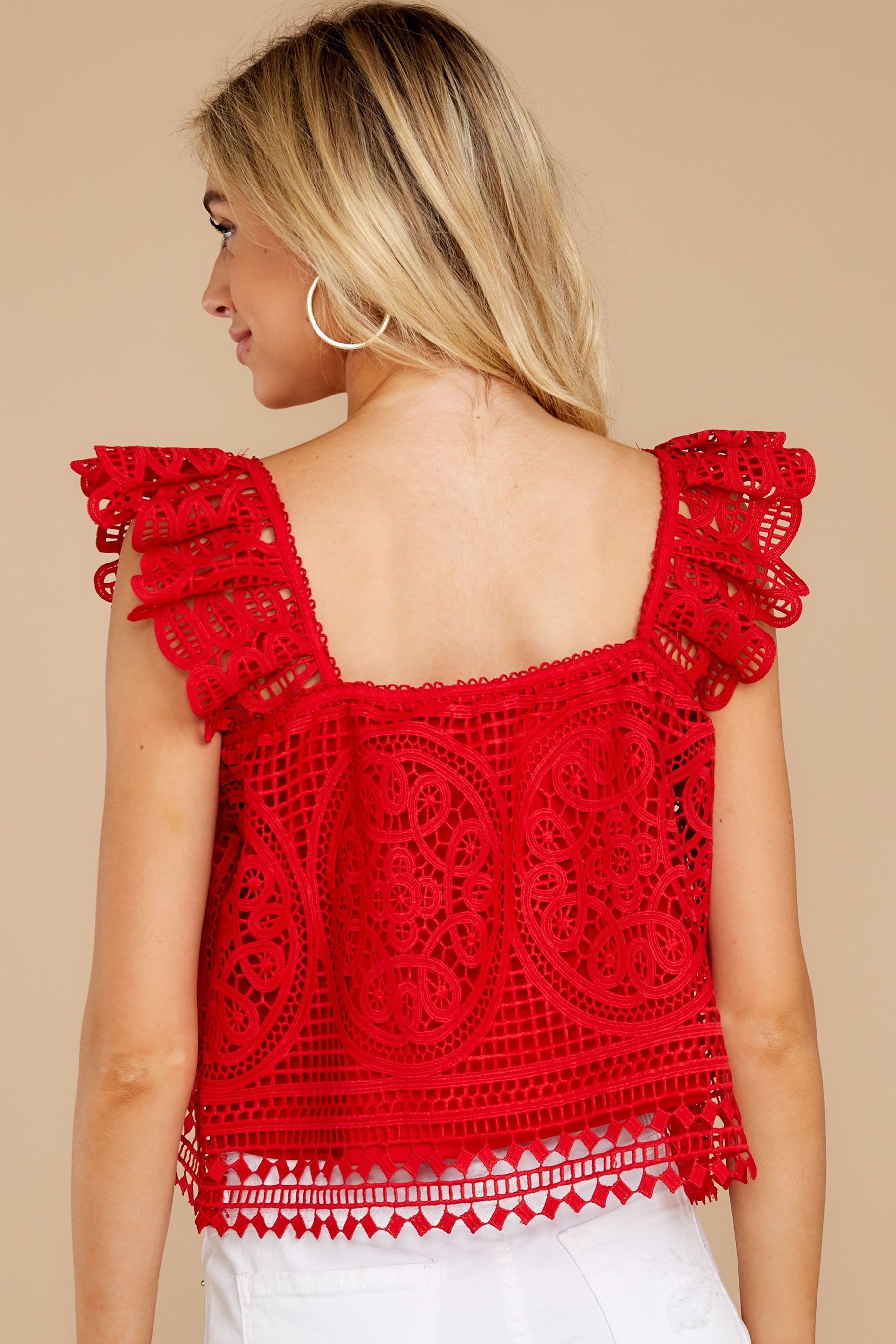 8 Right Time Right Place Red Lace Top at redressboutique.com