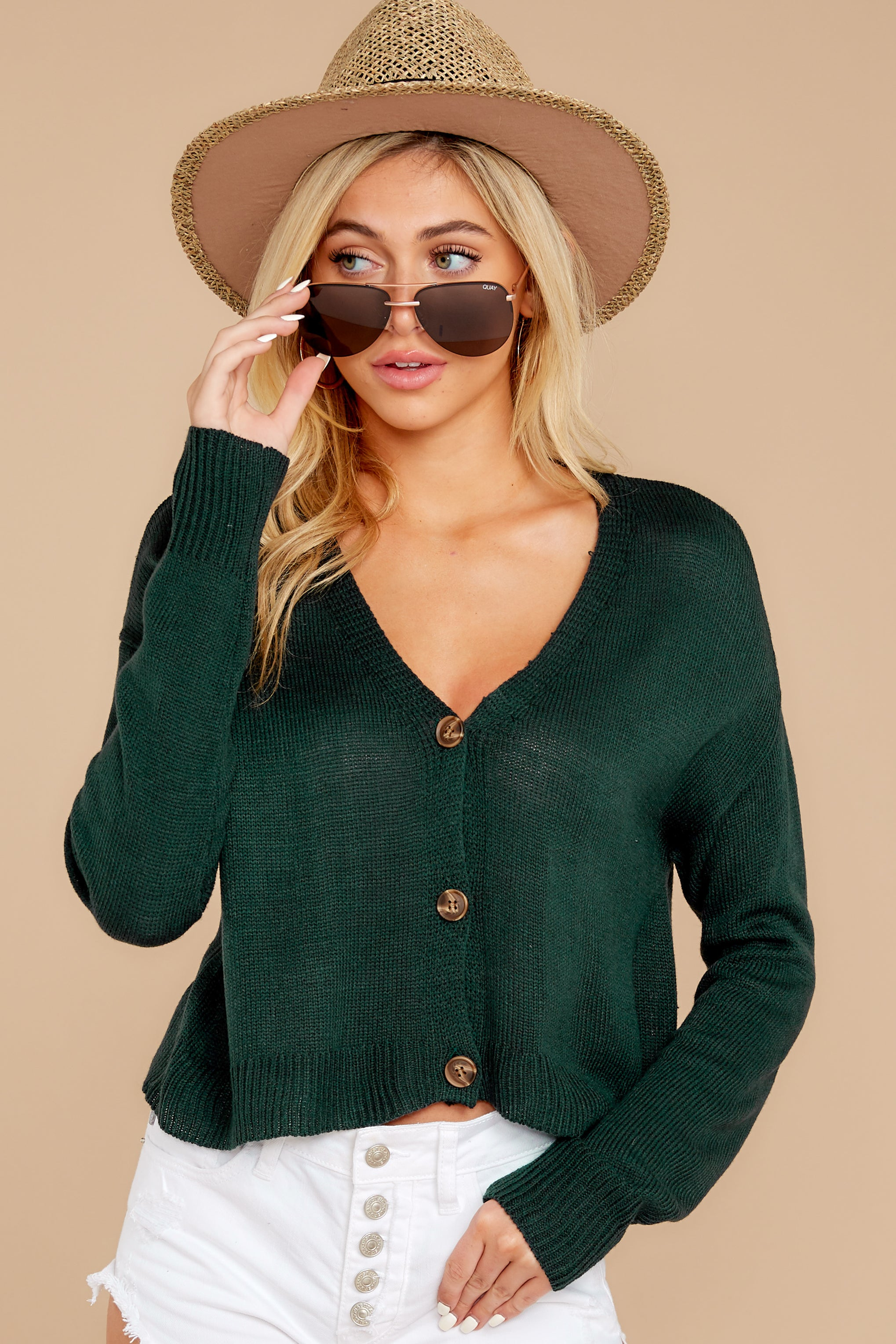 6 Keep It Real Evergreen Cropped Cardigan at reddressboutique.com