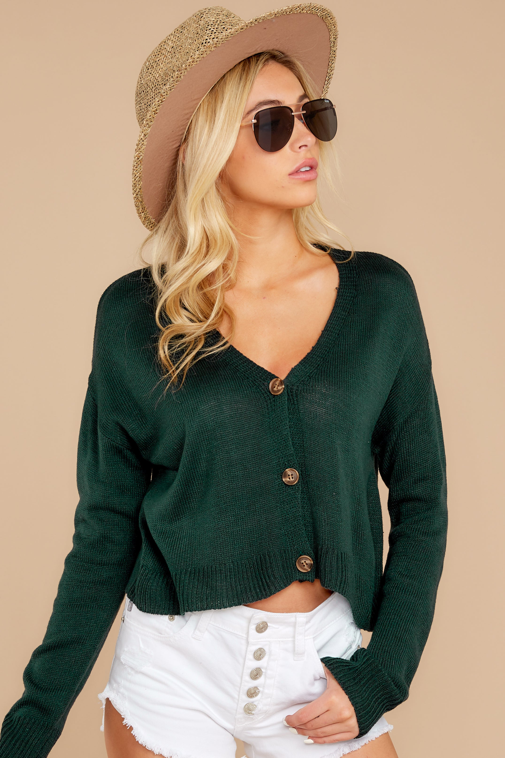 5 Keep It Real Evergreen Cropped Cardigan at reddressboutique.com
