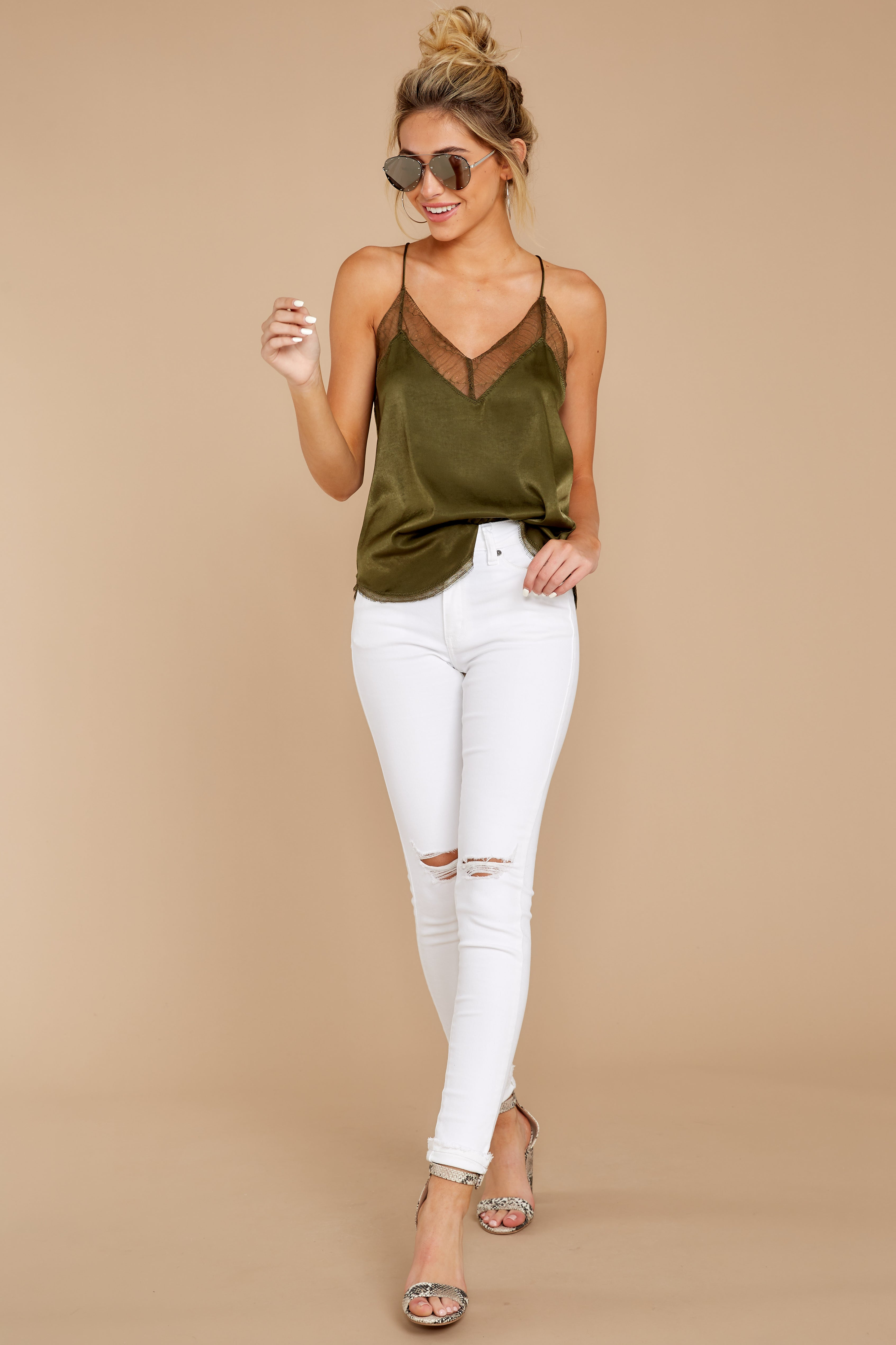 2 It's Just Simple Olive Green Lace Tank Top at reddressboutique.com