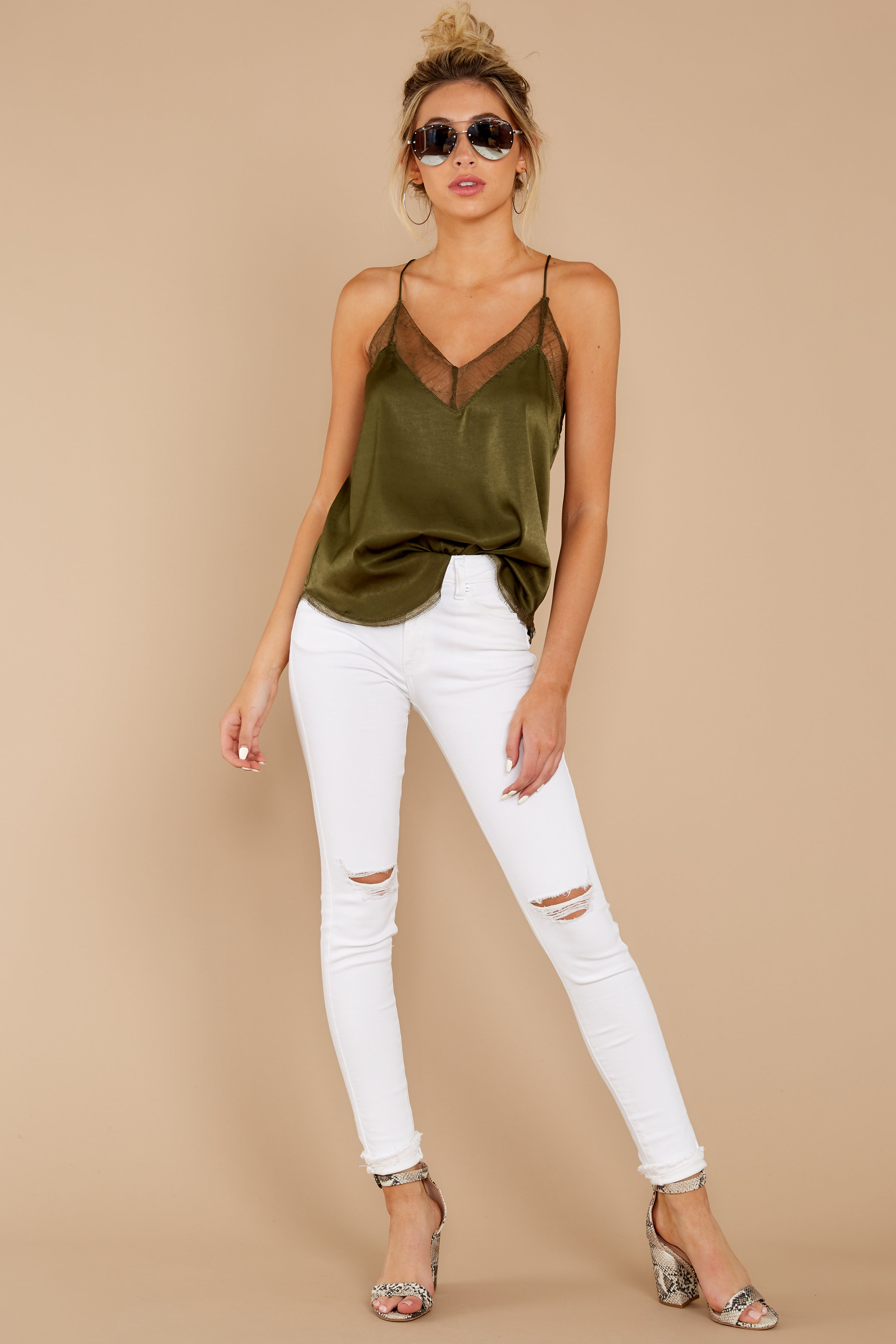 3 It's Just Simple Olive Green Lace Tank Top at reddressboutique.com