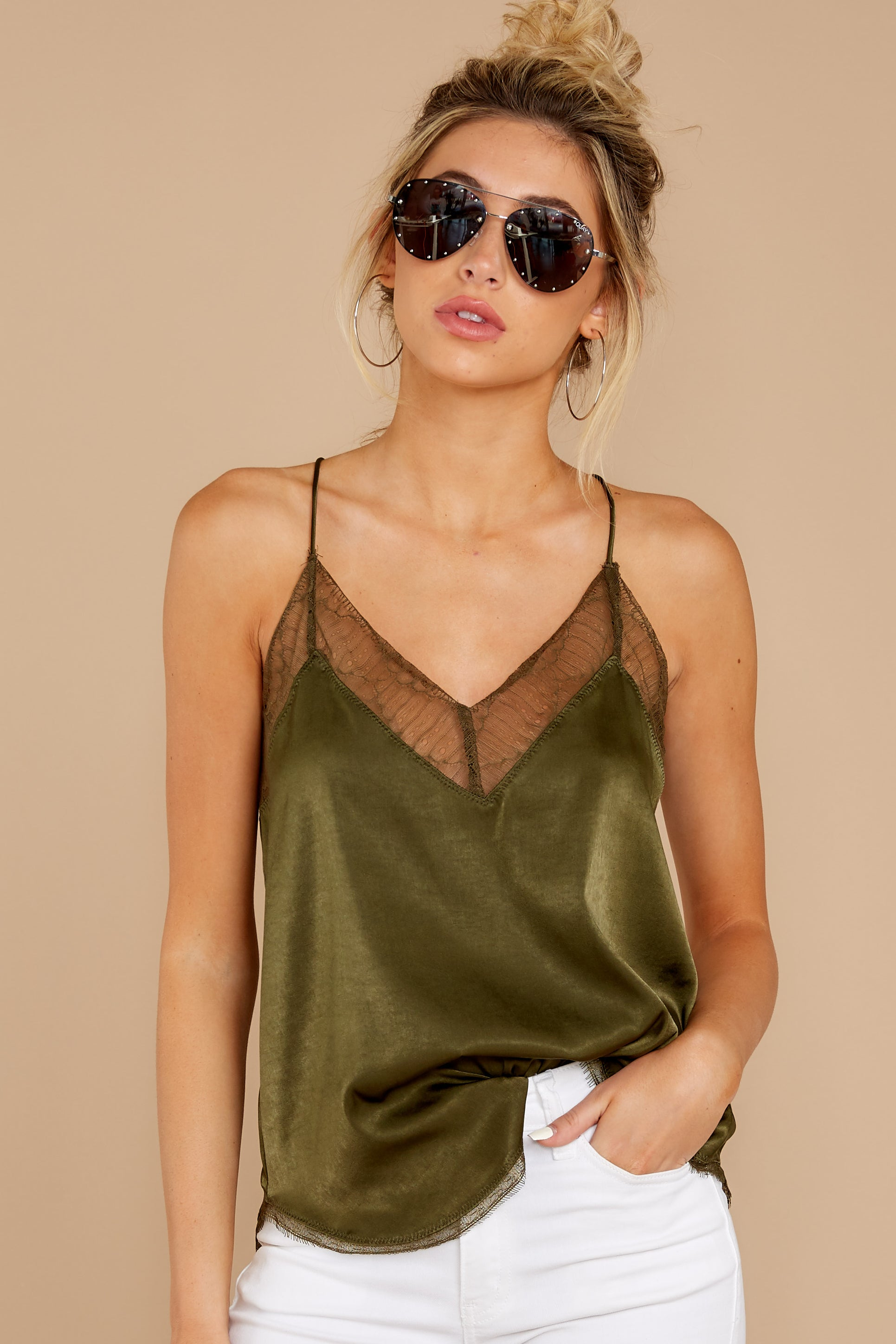 5 It's Just Simple Olive Green Lace Tank Top at reddressboutique.com
