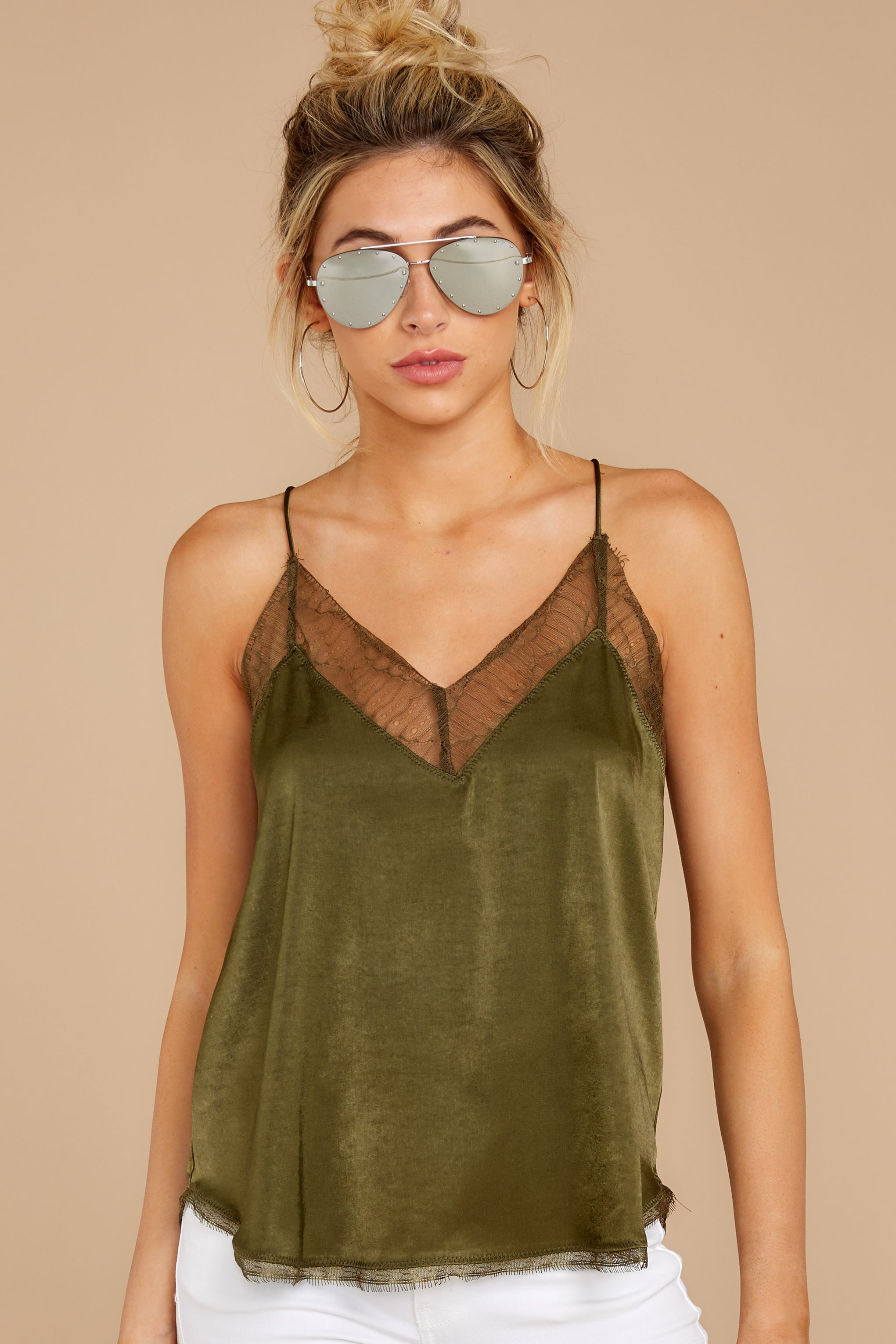 7 It's Just Simple Olive Green Lace Tank Top at reddressboutique.com