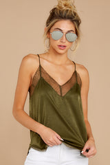6 It's Just Simple Olive Green Lace Tank Top at reddressboutique.com