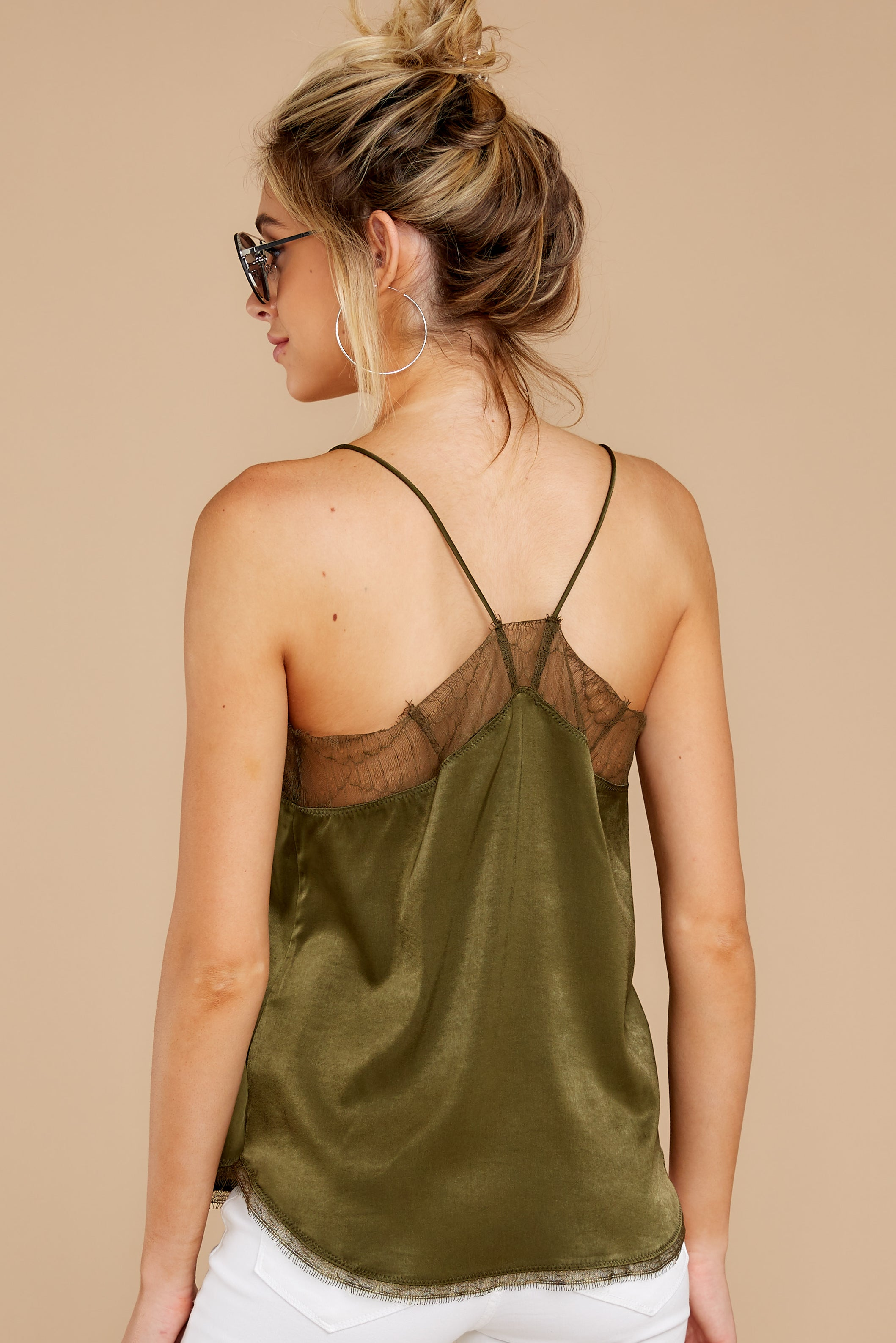 8 It's Just Simple Olive Green Lace Tank Top at reddressboutique.com