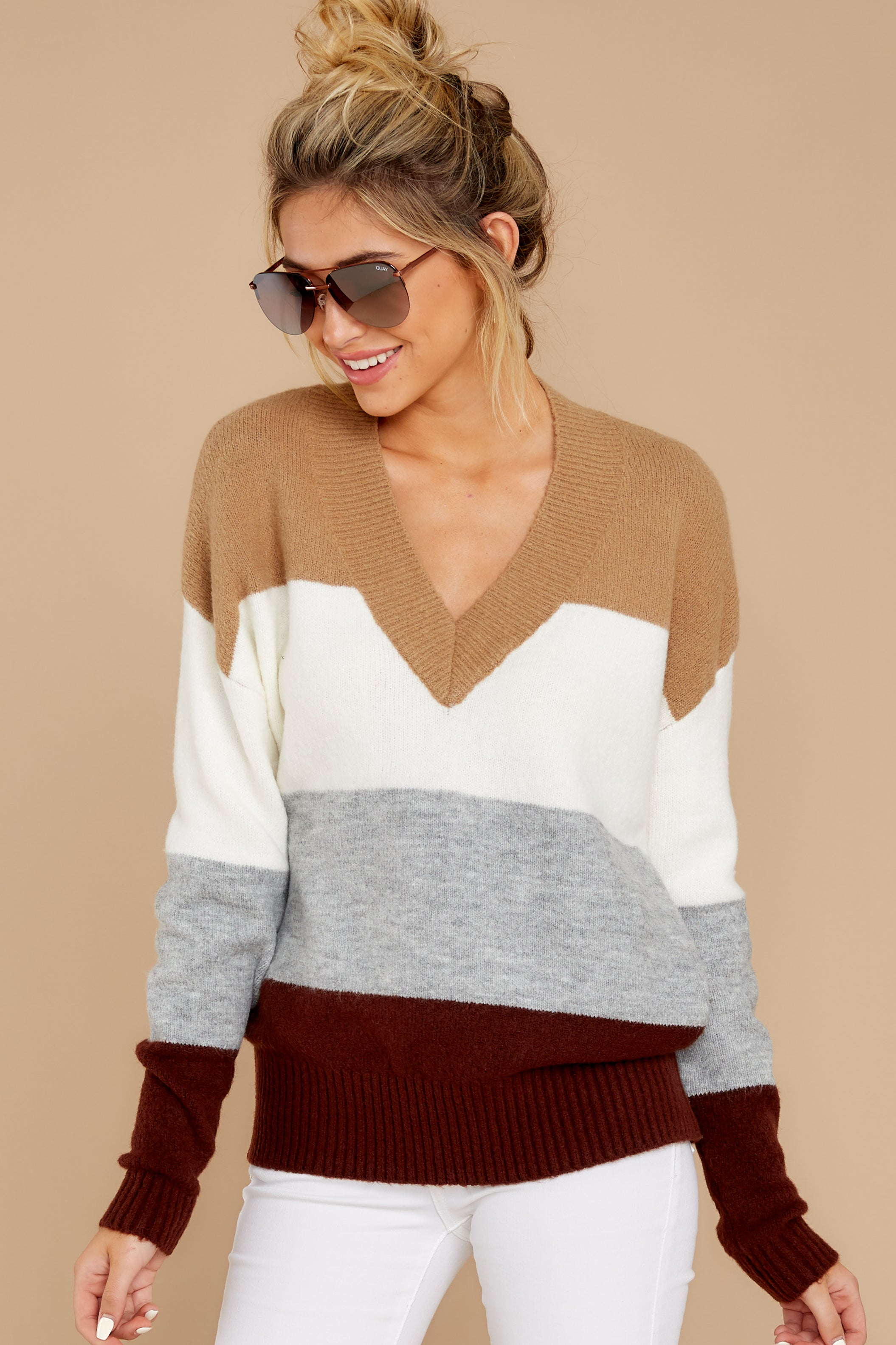 4 That Reminds Me Heather Grey Multi Stripe Sweater at reddress.com