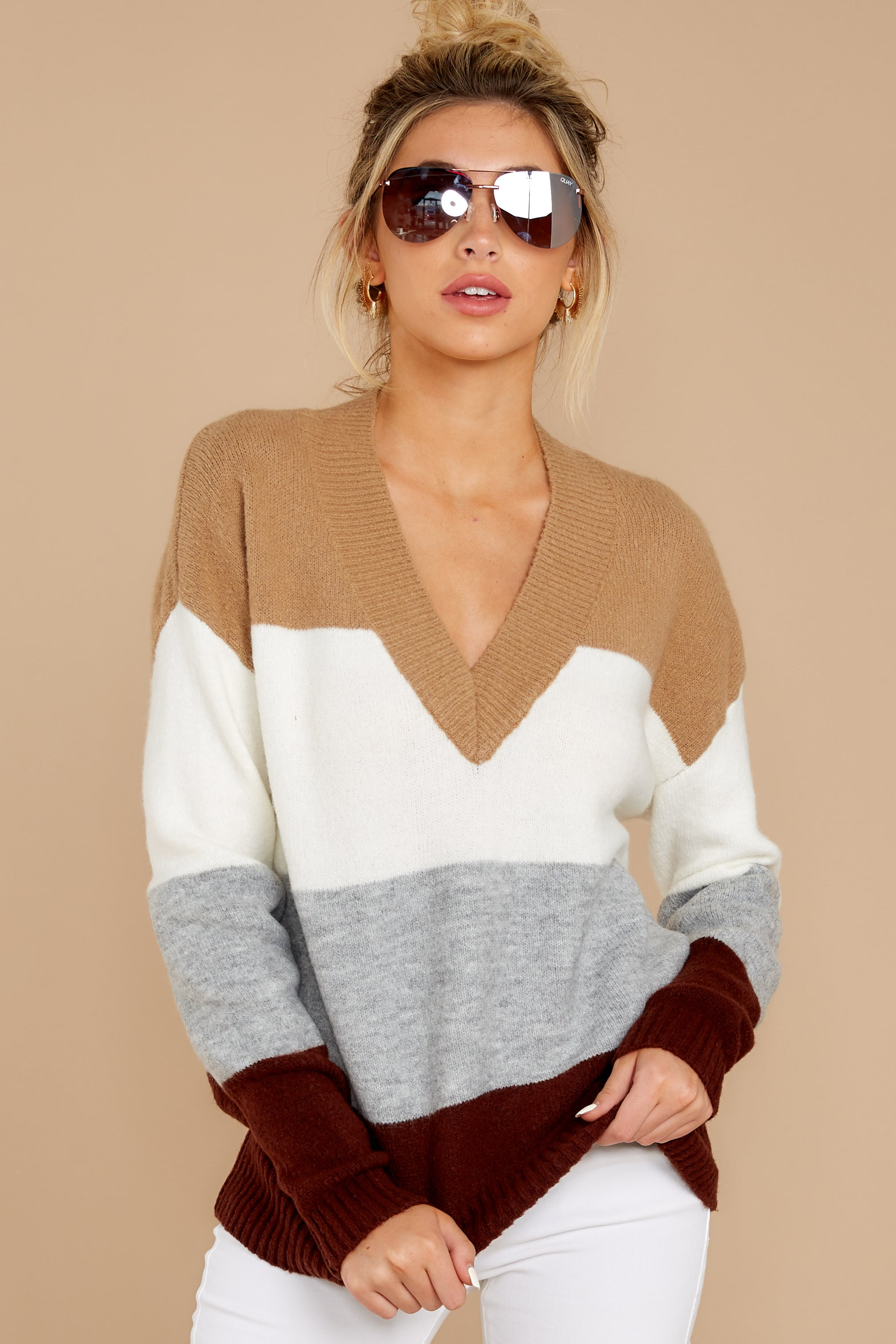 5 That Reminds Me Heather Grey Multi Stripe Sweater at reddress.com