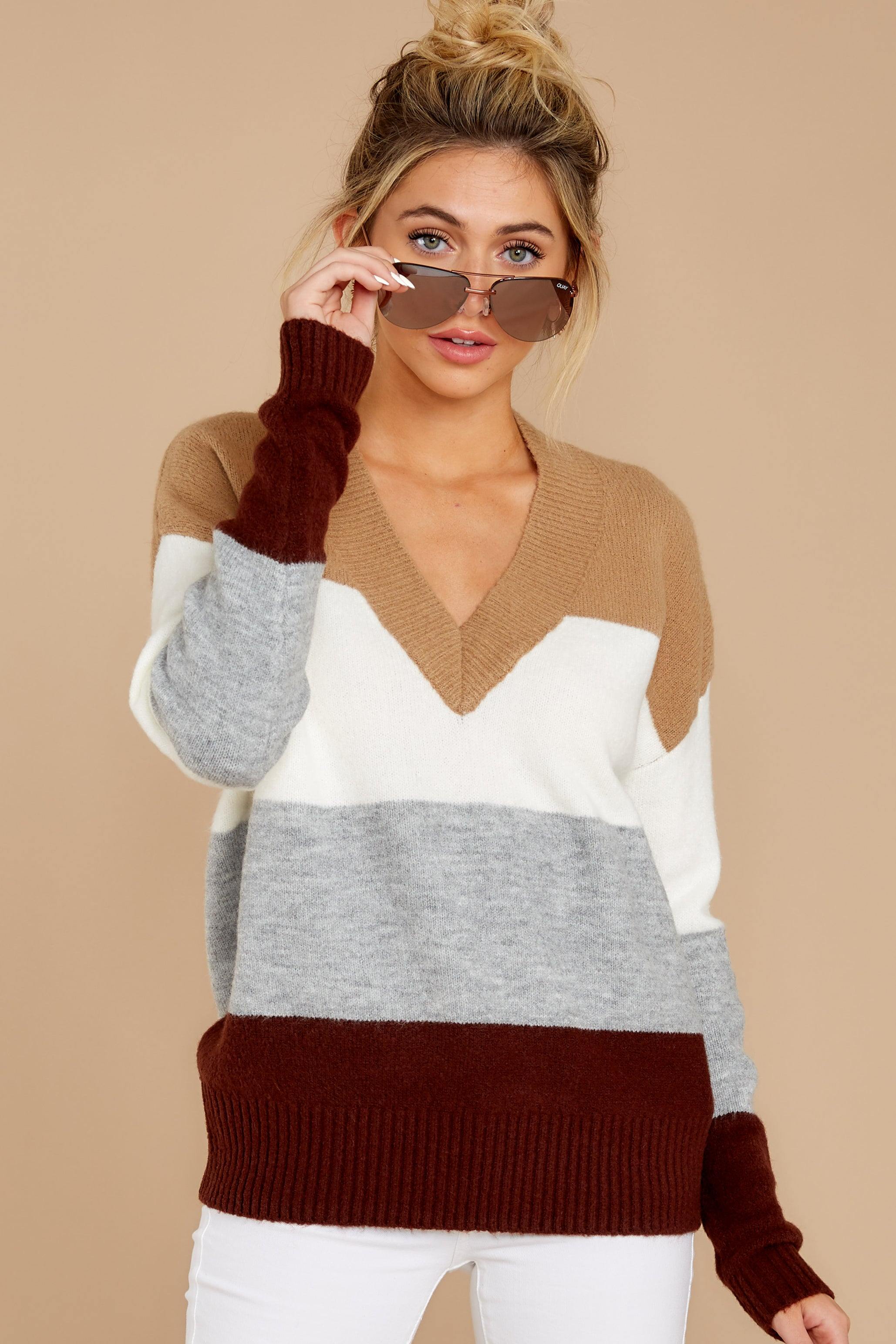 6 That Reminds Me Heather Grey Multi Stripe Sweater at reddress.com