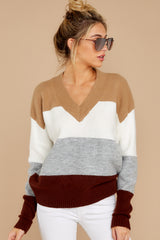 7 That Reminds Me Heather Grey Multi Stripe Sweater at reddress.com