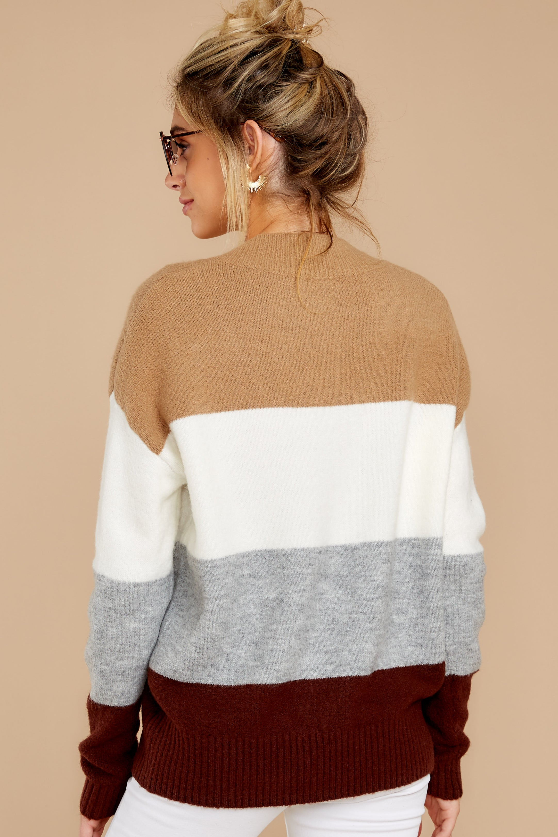 8 That Reminds Me Heather Grey Multi Stripe Sweater at reddress.com