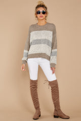 3 Everything You Expect Grey Multi Stripe Sweater at reddressboutique.com