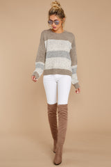 2 Everything You Expect Grey Multi Stripe Sweater at reddressboutique.com