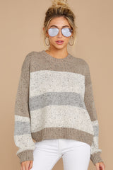 4 Everything You Expect Grey Multi Stripe Sweater at reddressboutique.com