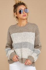 5 Everything You Expect Grey Multi Stripe Sweater at reddressboutique.com