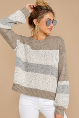 6 Everything You Expect Grey Multi Stripe Sweater at reddressboutique.com