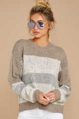 7 Everything You Expect Grey Multi Stripe Sweater at reddressboutique.com
