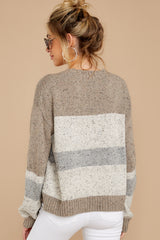 8 Everything You Expect Grey Multi Stripe Sweater at reddressboutique.com