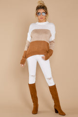 1 Cafes And Lattes Caramel Multi Stripe Sweater at reddress.com