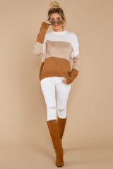 2 Cafes And Lattes Caramel Multi Stripe Sweater at reddress.com