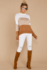 4 Cafes And Lattes Caramel Multi Stripe Sweater at reddress.com