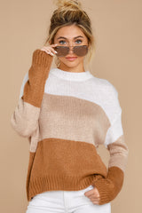 5 Cafes And Lattes Caramel Multi Stripe Sweater at reddress.com