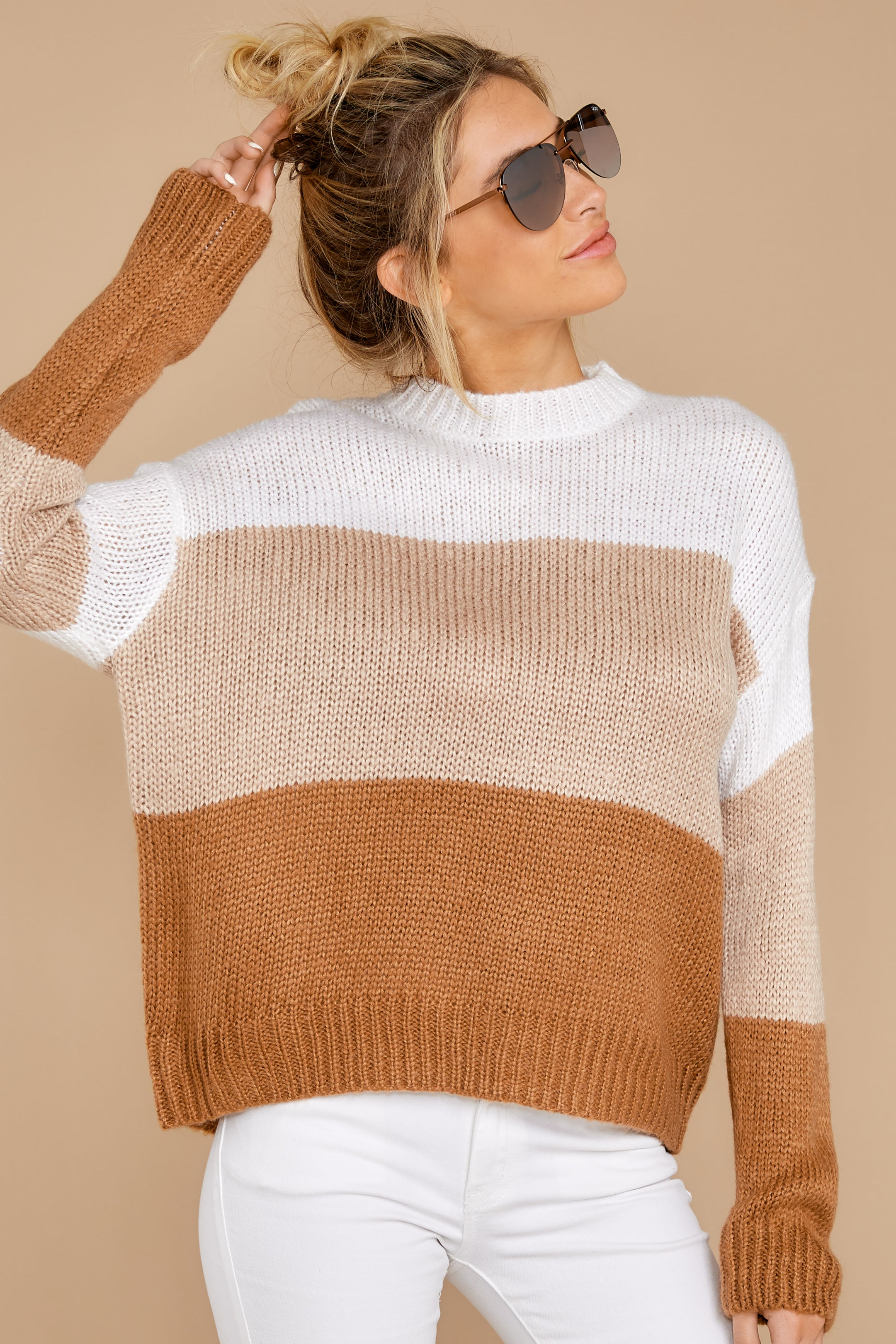 6 Cafes And Lattes Caramel Multi Stripe Sweater at reddress.com