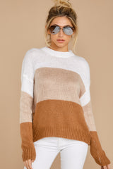 7 Cafes And Lattes Caramel Multi Stripe Sweater at reddress.com