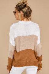 8 Cafes And Lattes Caramel Multi Stripe Sweater at reddress.com