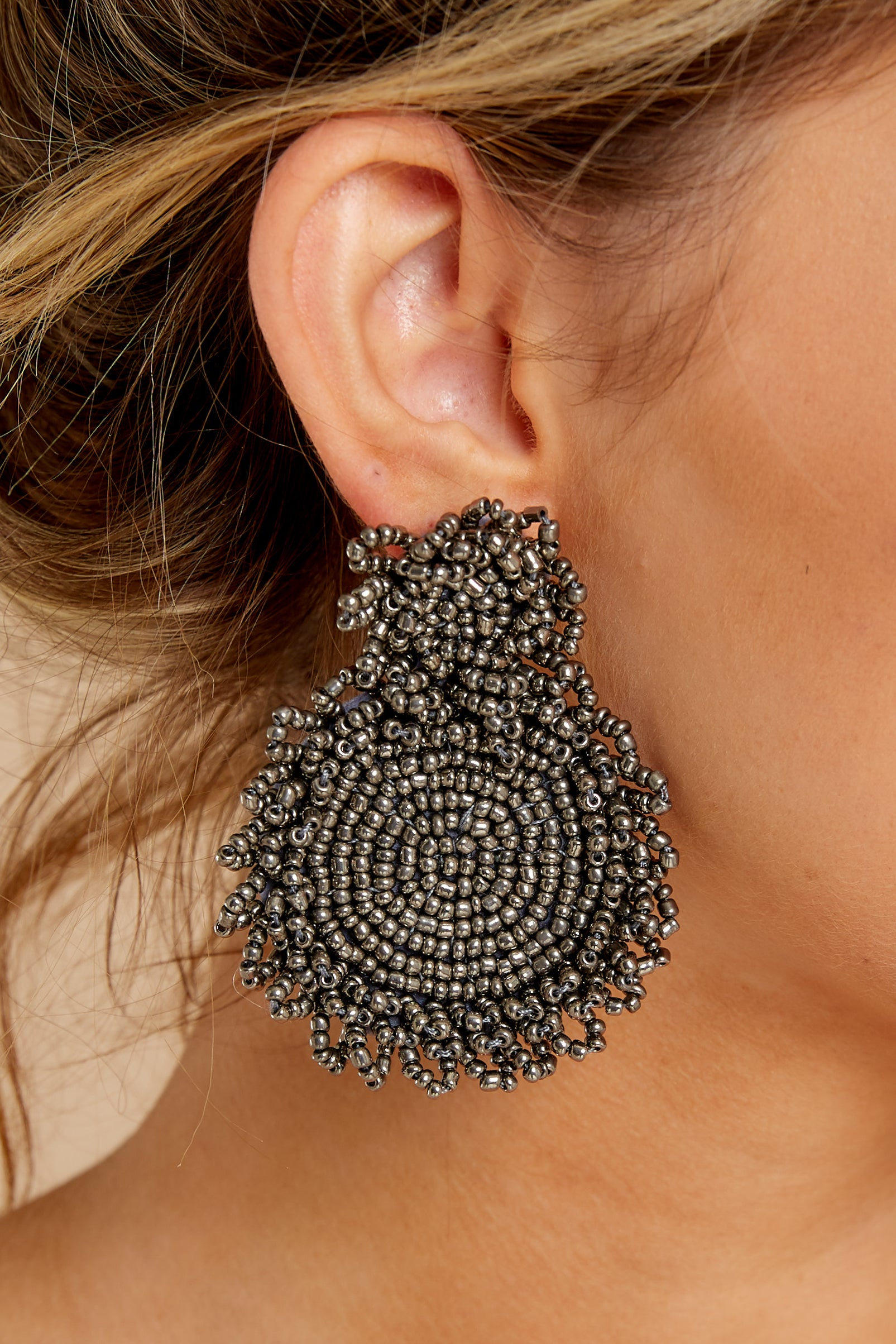 1 Do You Love Me Grey Beaded Earrings at reddressboutique.com