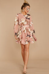 4 Say It With Flowers Blush Pink Floral Print Dress at reddressboutique.com