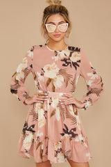 5 Say It With Flowers Blush Pink Floral Print Dress at reddressboutique.com