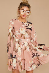 6 Say It With Flowers Blush Pink Floral Print Dress at reddressboutique.com