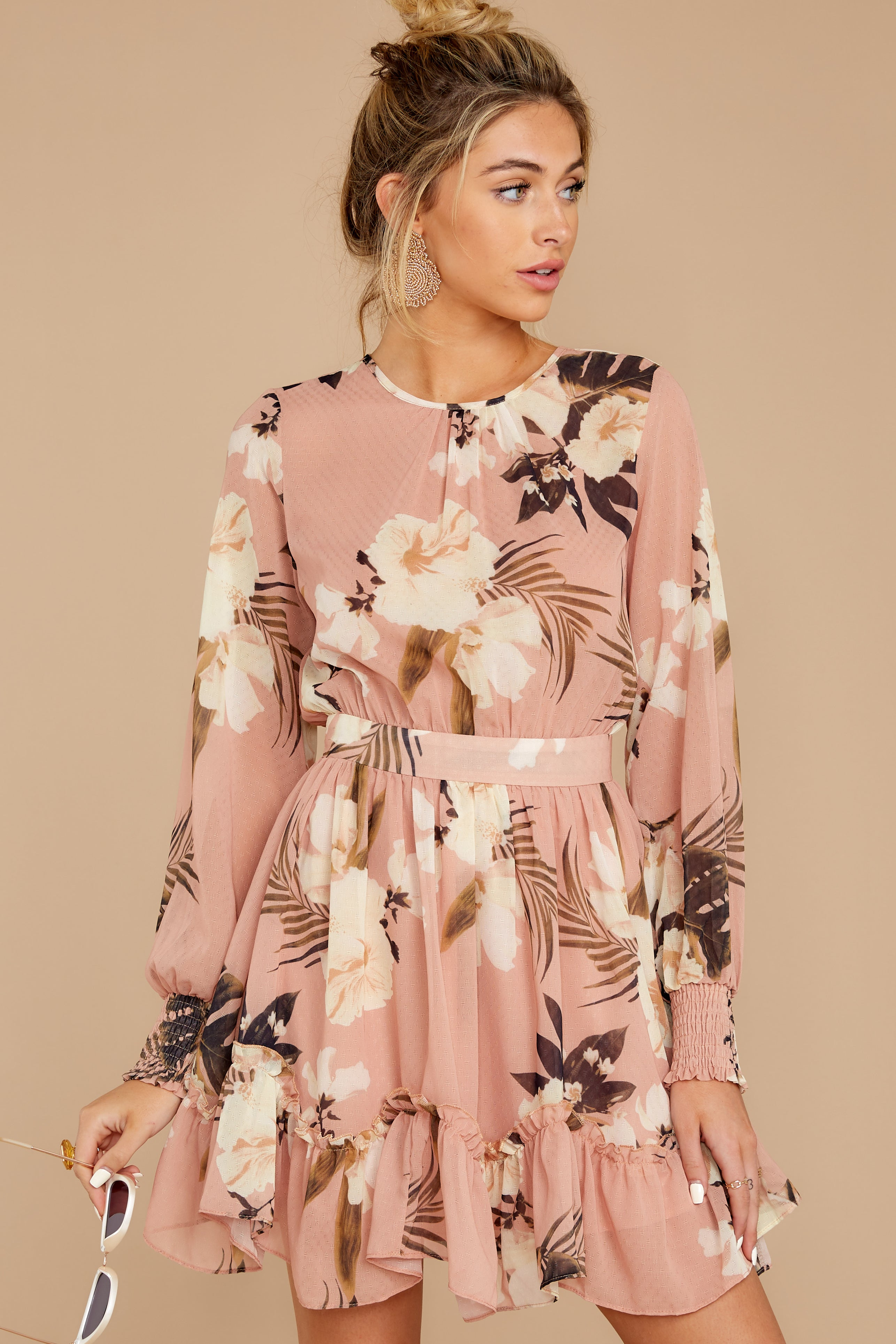 8 Say It With Flowers Blush Pink Floral Print Dress at reddressboutique.com