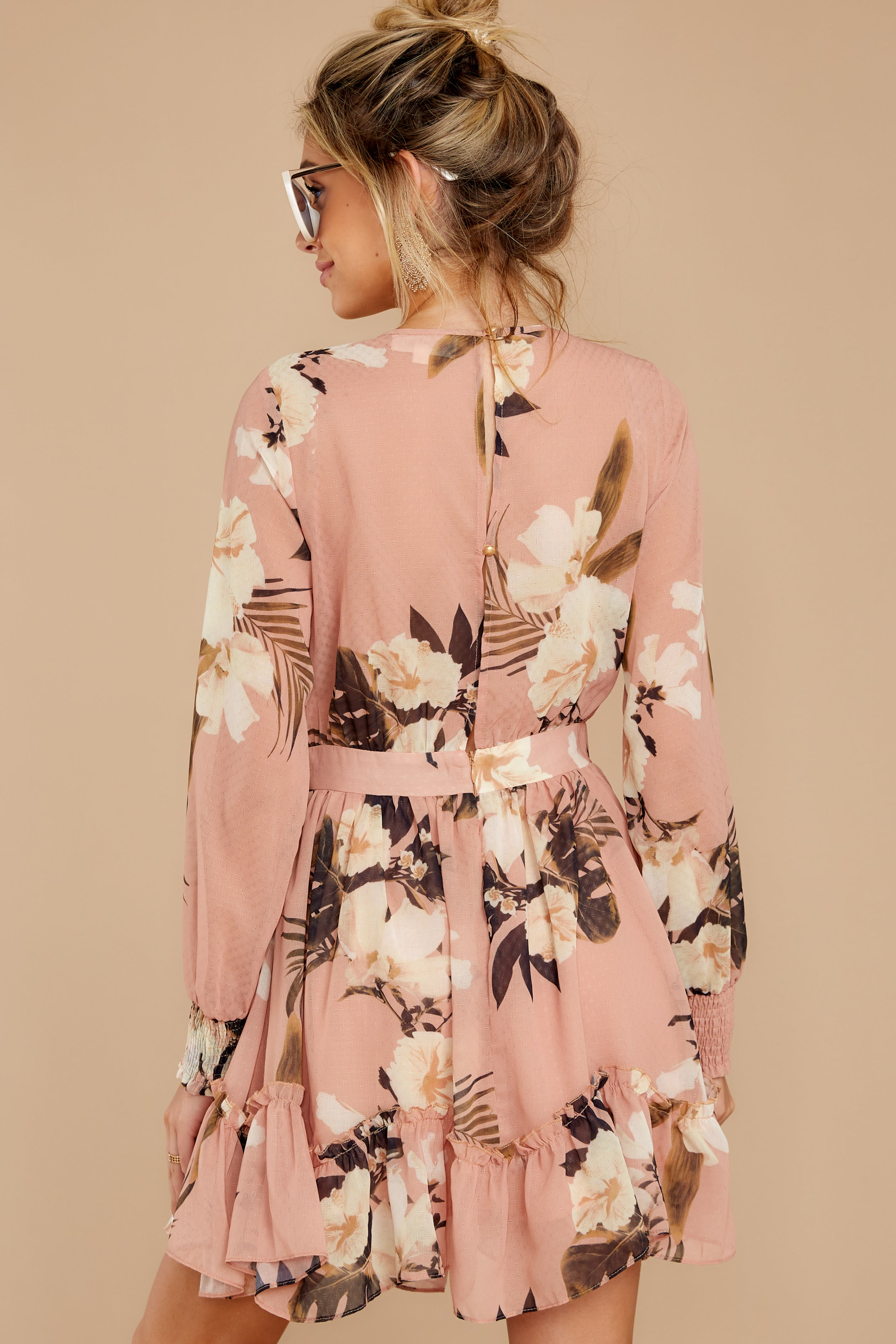 9 Say It With Flowers Blush Pink Floral Print Dress at reddressboutique.com