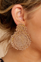 1 Do You Love Me Gold Beaded Earrings at reddressboutique.com