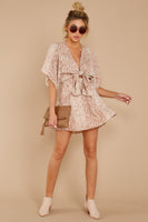 Tall V-neck Polyester Dolman Sleeves Animal Snake Print Dress