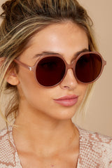 1 Glancing Back And Forth Brown Sunglasses at reddressboutique.com
