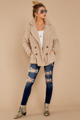 1 City Nights Tan Sherpa Coat at reddressboutique.com