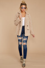 2 City Nights Tan Sherpa Coat at reddressboutique.com